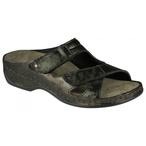 Berkemann tépőzáras papucs Janna bőr/sztreccs bronz
