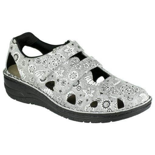 Berkemann lyukacsos tépőzáras cipő Larena bőr mintás fehér fekete