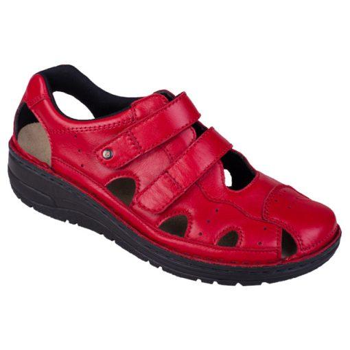 Berkemann lyukacsos tépőzáras cipő Larena bőr piros