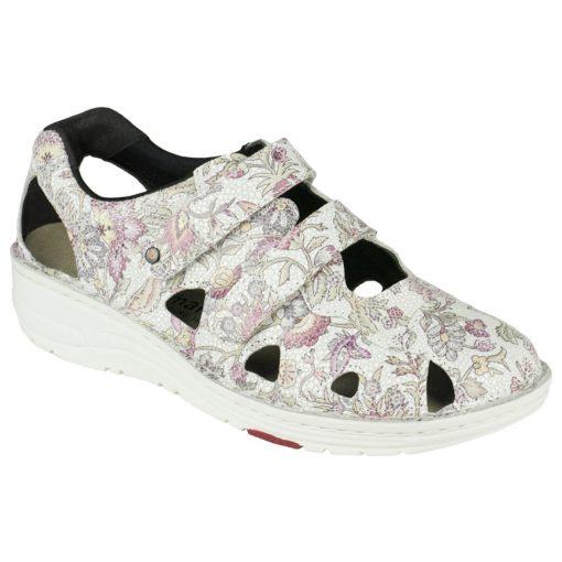 Berkemann lyukacsos tépőzáras cipő Larena bőr virágos színes fehér