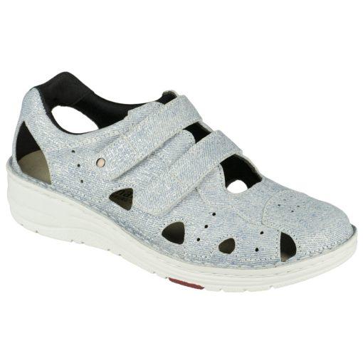 Berkemann lyukacsos tépőzáras cipő Larena bőr világos farmerkék