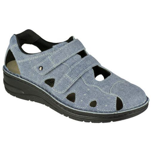 Berkemann lyukacsos tépőzáras cipő Larena bőr farmerkék
