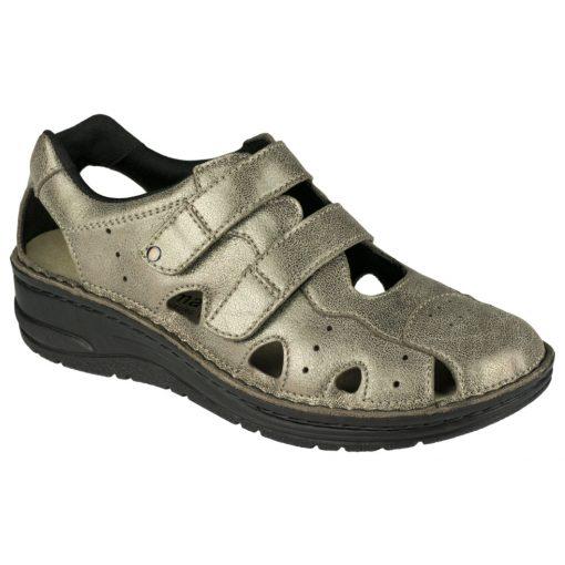 Berkemann lyukacsos tépőzáras cipő Larena bőr bronz