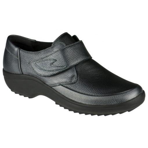 Berkemann tépőzáras cipő Talia bőr/sztreccs sötétszürke