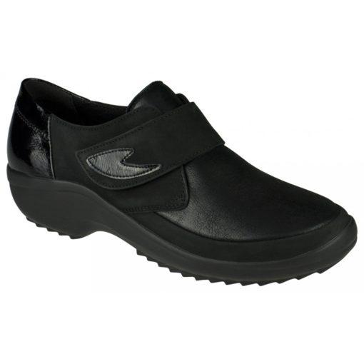 Berkemann tépőzáras cipő Talia bőr/sztreccs/nubuk/lakk fekete
