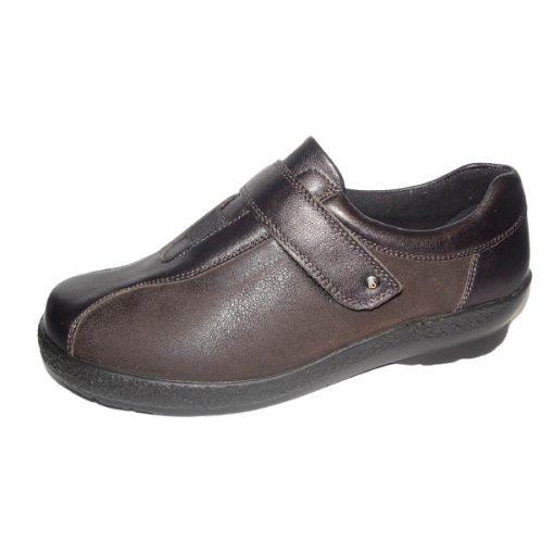 Berkemann tépőzáras cipő Josie bőr/sztreccs sötétbarna