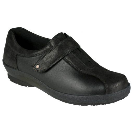 Berkemann tépőzáras cipő Josie bőr/sztreccs fekete szürke