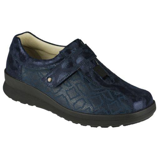Berkemann tépőzáras cipő Susanna bőr/sztreccs fényes mintás kék