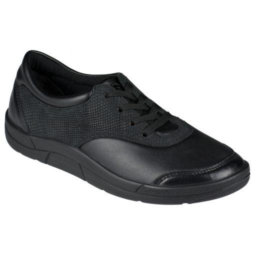 Berkemann fűzős cipő Alita bőr/sztreccs/kígyóbőr fekete