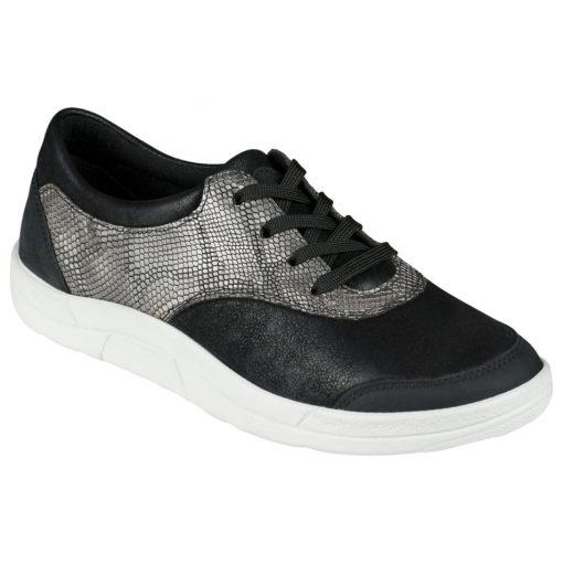 Berkemann fűzős cipő Alita nubuk/sztreccs/kígyóbőr fekete ezüst