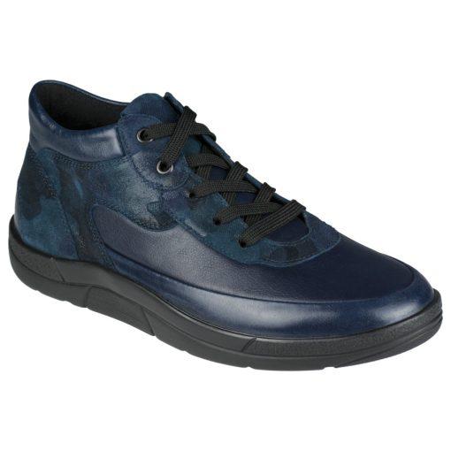 Berkemann fűzős bokacsizma Tyra bőr/sztreccs mintás kék