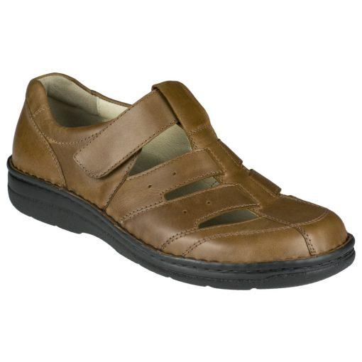 Berkemann lyukacsos tépőzáras cipő Eduard bőr világos barna