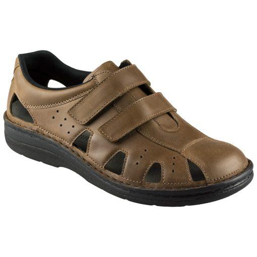 Berkemann lyukacsos tépőzáras cipő Joost bőr barna