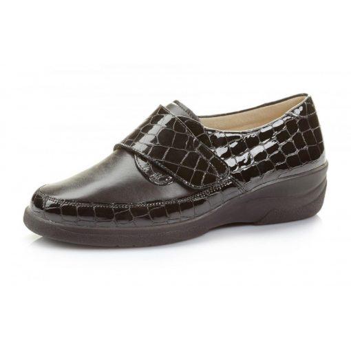 Solidus tépőzáras cipő Hedda lakkbőr/sztreccs fekete