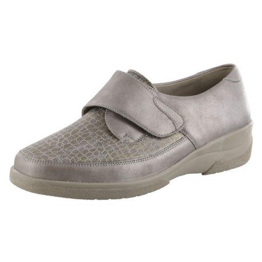 Solidus tépőzáras cipő Hedda gyöngyházfényű bőr sötétszürke