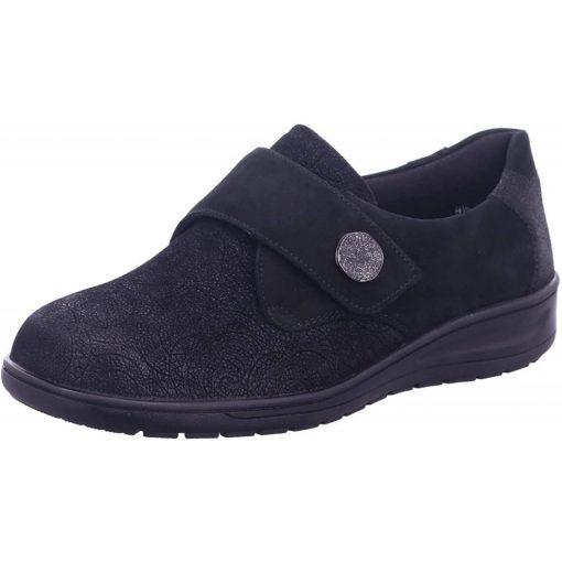 Solidus tépőzáras cipő Kate nubuk/sztreccs mintás fekete