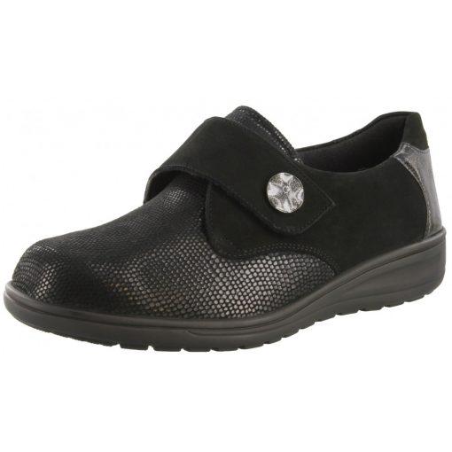Solidus tépőzáras cipő Kate nubuk/sztreccs/lakkbőr fekete