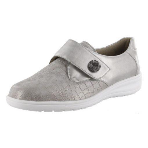 Solidus tépőzáras cipő Kate gyöngyházfényű bőr/sztreccs szürke