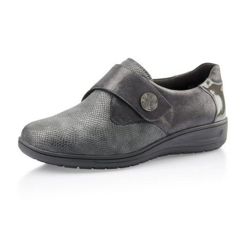 Solidus tépőzáras cipő Kate bőr/sztreccs/lakkbőr szürke