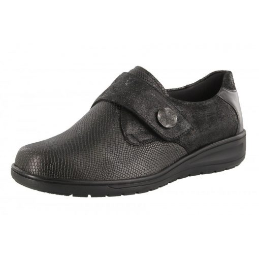 Solidus tépőzáras cipő Kate bőr/sztreccs mintás fekete