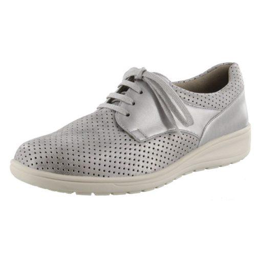 Solidus lyukacsos fűzős cipő Kate gyöngyházfényű bőr/sztreccs szürke