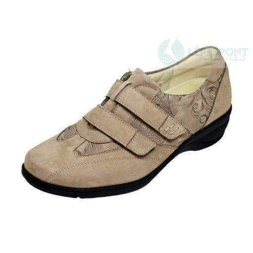 Waldlaufer kényelmi tépőzáras cipő Haga nubuk mintás drapp