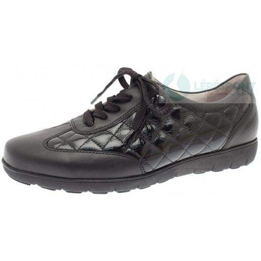 Waldlaufer kényelmi fűzős női cipő Handy bőr/lakkbőr fekete