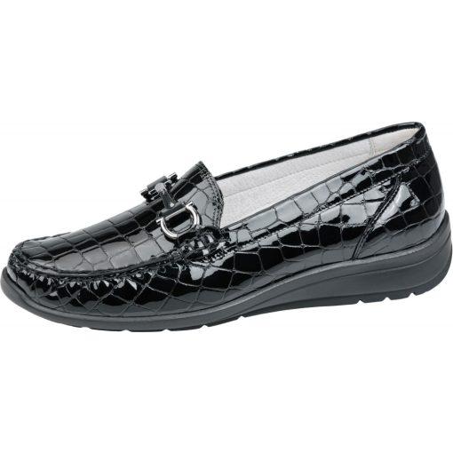 Waldlaufer kényelmi belebújós cipő Hinata lakk krokodilbőr fekete