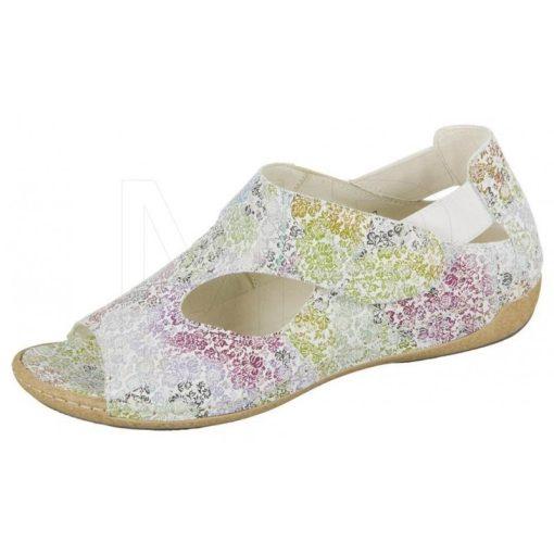 Waldlaufer kényelmi lyukacsos tépőzáras szandálcipő Heliett bőr virágos színes fehér