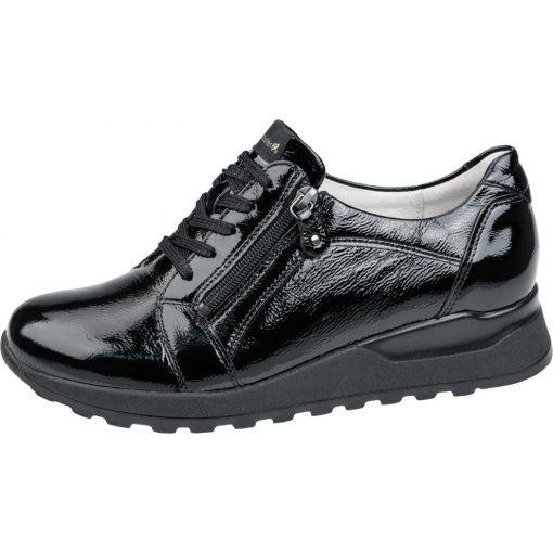 Waldlaufer kényelmi fűzős cipzáras cipő  Hiroko lakkbőr fekete