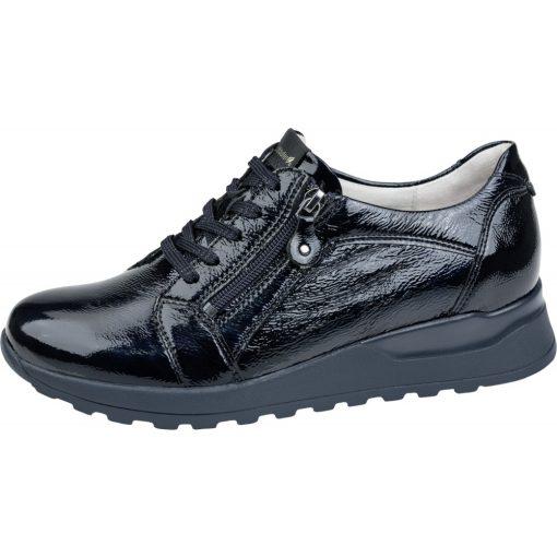 Waldlaufer kényelmi fűzős cipzáras cipő Hiroko lakkbőr sötétkék