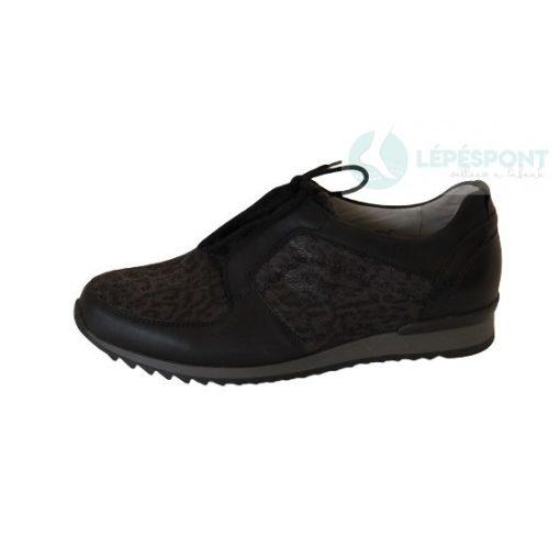 Waldlaufer kényelmi fűzős cipő Hurly bőr/textil mintás fekete szürke