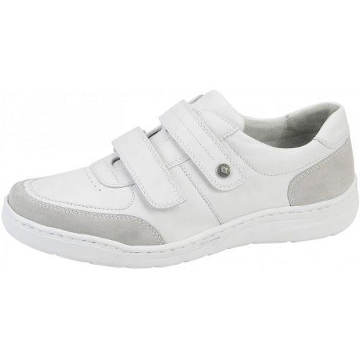 Waldlaufer kényelmi tépőzáras cipő Hanilo bőr fehér szürke