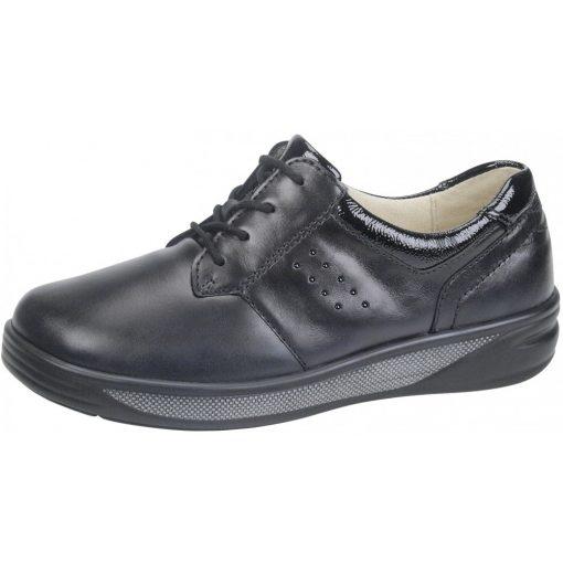 Waldlaufer kényelmi fűzős cipő Halva bőr/lakkbőr fekete
