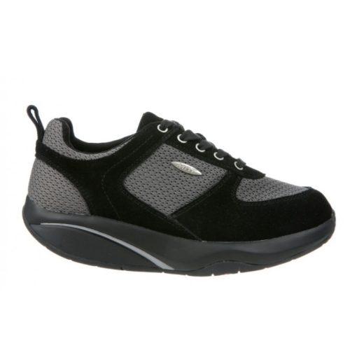 MBT fűzős cipő Anataka nubuk/textil fekete szürke