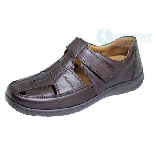 Waldlaufer kényelmi lyukacsos tépőzáras cipő Herwig bőr sötétbarna