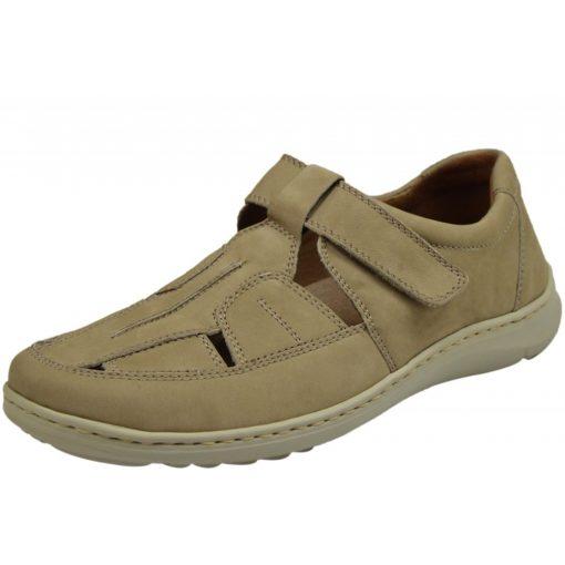 Waldlaufer kényelmi lyukacsos tépőzáras cipő Herwig nubuk világos bézs