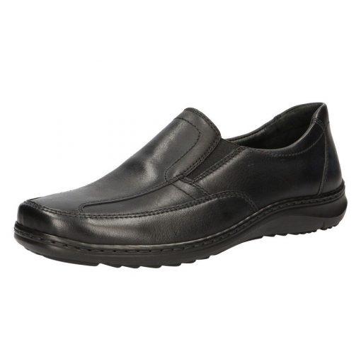 Waldlaufer kényelmi belebújós cipő Herwig bőr fekete
