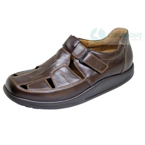 Waldlaufer dynamic gördülő talpú lyukacsos tépőzáras cipő Helgo bőr sötétbarna