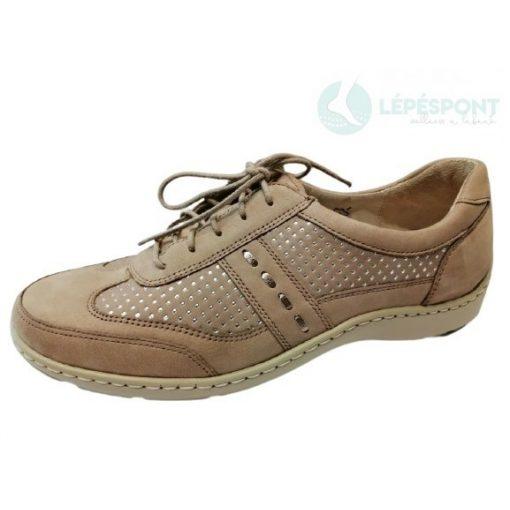 Waldlaufer kényelmi fűzős női cipő Henni nubuk mintás bézs