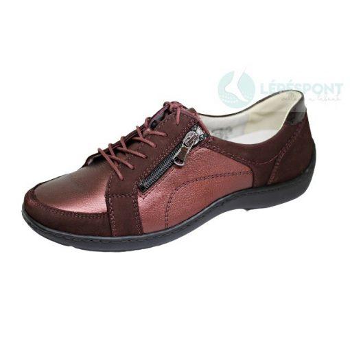 Waldlaufer kényelmi fűzős cipzáras cipő Henni bőr fényes bordó