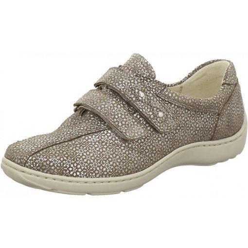 Waldlaufer kényelmi tépőzáras cipő Henni bőr mintás drapp