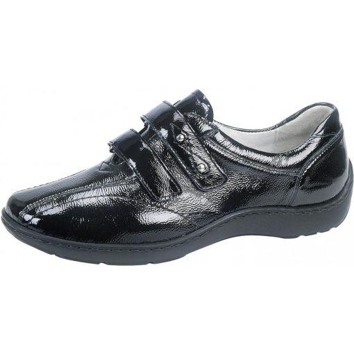 Waldlaufer kényelmi tépőzáras cipő Henni lakkbőr fekete