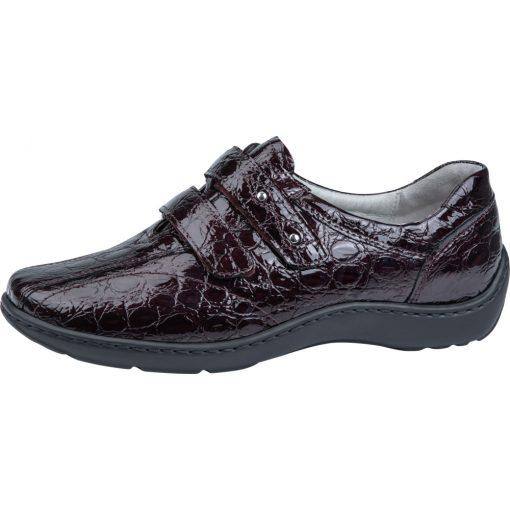 Waldlaufer kényelmi tépőzáras cipő Henni lakkbőr bordó