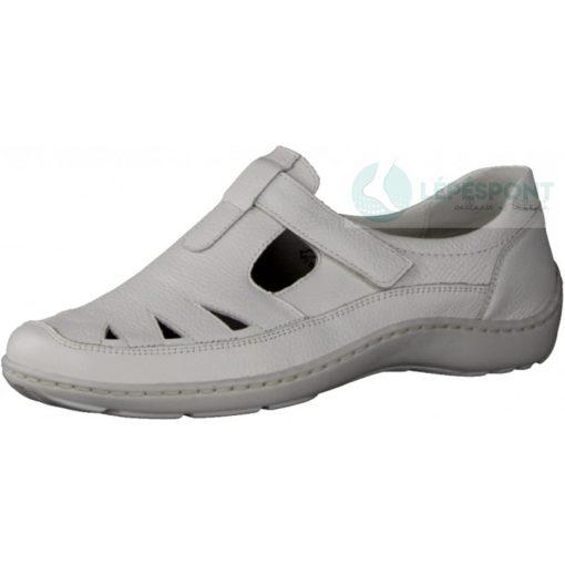 Waldlaufer kényelmi lyukacsos tépőzáras női cipő Henni bőr fehér