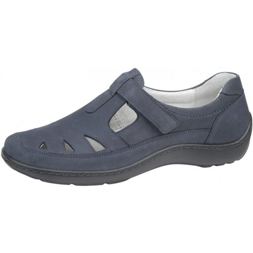 Waldlaufer kényelmi lyukacsos tépőzáras cipő Henni nubuk sötétkék