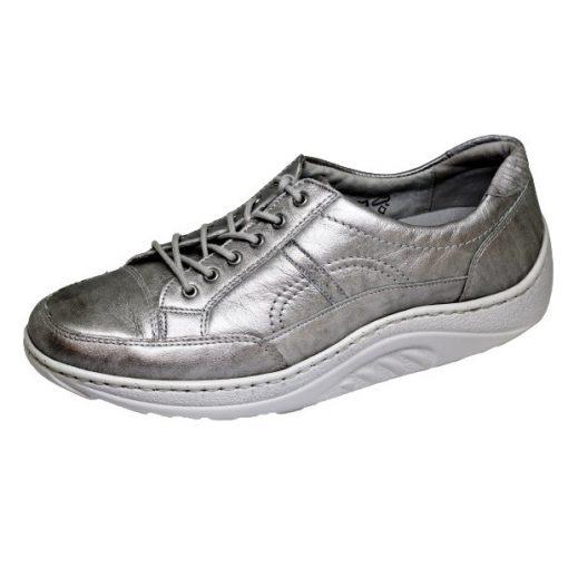 Waldlaufer dynamic gördülő talpú fűzős cipő Helli fényes bőr drapp szürke
