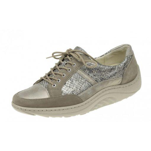 Waldlaufer dynamic gördülő talpú fűzős cipő Helli nubuk/kígyóbőr fényes arany bézs