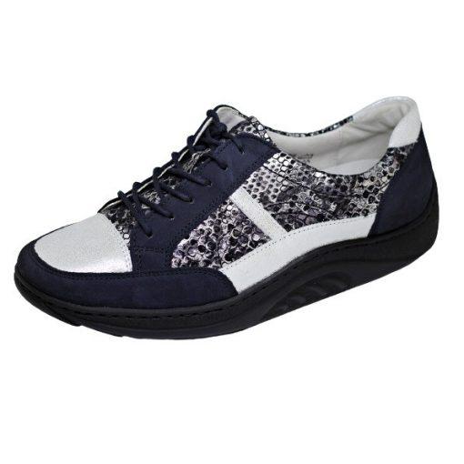 Waldlaufer dynamic gördülő talpú fűzős cipő Helli nubuk mintás kék ezüst