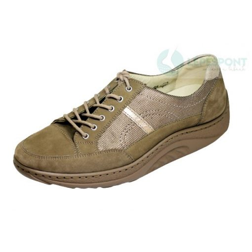 Waldlaufer dynamic gördülő talpú fűzős cipő Helli nubuk mintás drapp arany